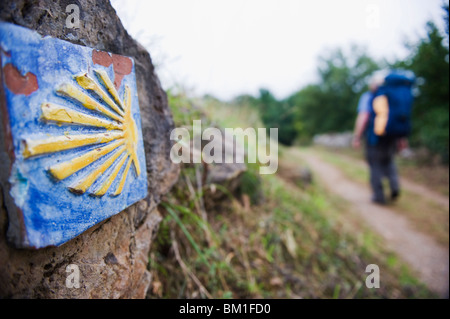 Hiker pilgrim on the Camino de Santiago, Asturias, Spain, Europe - Stock Photo