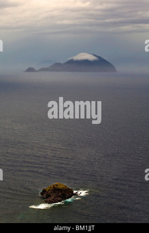 Filicudi island view from Salina Island, Messina, Sicily, Italy, Europe - Stock Photo