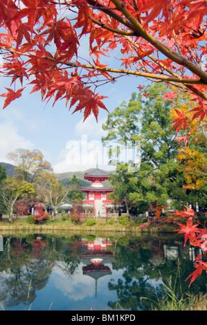 Pagoda on Osawa Pond, Daikaku ji (Daikakuji) Temple, dating from 876, Sagano area, Kyoto, Japan, Asia