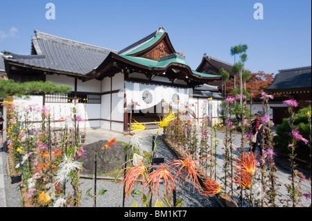 Ikebana flower arrangement, Daikaku ji (Daikakuji) Temple, dating from 876, Sagano area, Kyoto, Japan, Asia - Stock Photo
