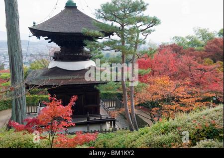Autumn maple leaves at the 16th century Jojakko ji (Jojakkoji) Temple, Arashiyama Sagano area, Kyoto, Japan, Asia - Stock Photo