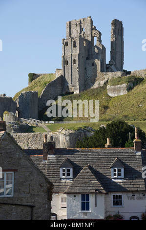 Corfe Castle, built under the instructions of William the Conquerer, Dorset, England, United Kingdom - Stock Photo