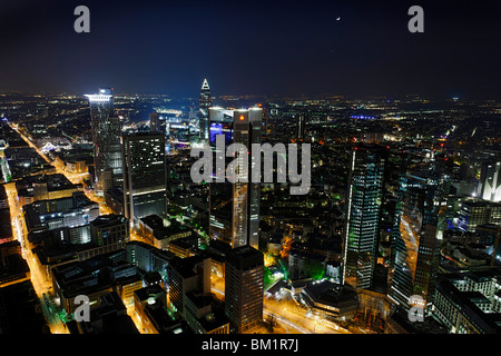 Panoramic view from Main Tower across Frankfurt am Main at night, lights, illumination, financial district, Hesse, - Stock Photo