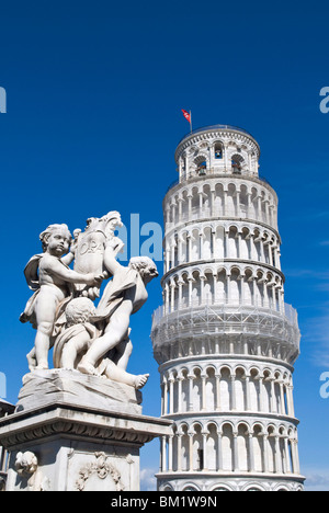 The Leaning Tower of Pisa, Piazza dei Miracoli, UNESCO World Heritage Site, Pisa, Tuscany, Italy, Europe - Stock Photo