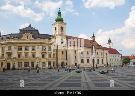Mare square, Sibiu, Transylvania, Romania, Europe - Stock Photo