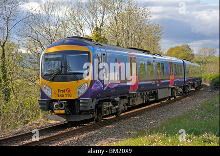 First TransPennine Express, DMU Class 185 Desiro, Number 185 118 approaching Oxenholme Station, Cumbria, England, - Stock Photo