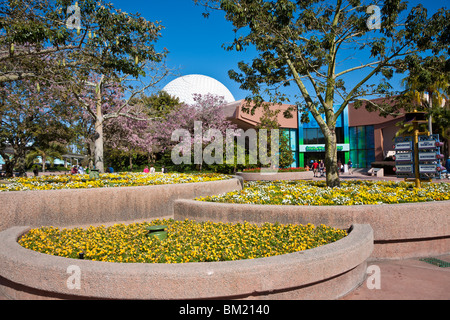 Kissimmee, FL - Jan 2009 - Geodesic dome shows behind tiered flower gardens inside Walt Disney World's Epcot Center - Stock Photo