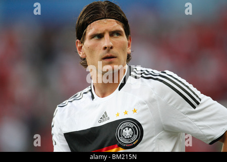 Mario Gomez of Germany seen during team warm ups prior to a UEFA Euro 2008 Group B soccer match against Austria. - Stock Photo