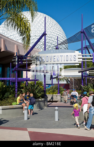 Kissimmee, FL - Jan 2009 - Guests rest outside Innoventions attraction at Walt Disney World's Epcot Center - Stock Photo