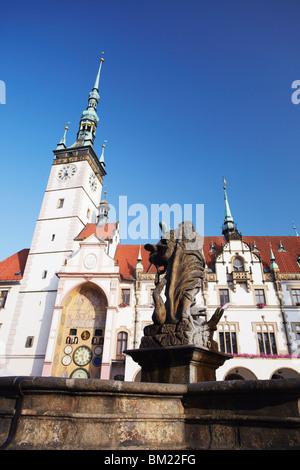 Hercules Fountain in front of Town Hall in Upper Squrae (Horni Namesti), Olomouc, Moravia, Czech Republic, Europe - Stock Photo