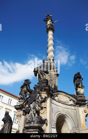 Marian Plague Column in Lower Square (Dolni Namesti), Olomouc, Moravia, Czech Republic, Europe - Stock Photo