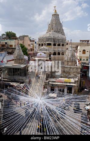 Hindu temple Jagdish Mandir, preparation for the Diwali festival celebrations, Udaipur, Rajasthan, India, Asia - Stock Photo
