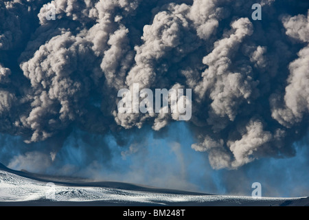 Ash cloud from the Eyjafjallajokull eruption in Iceland - Stock Photo