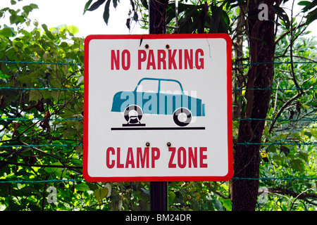 No Parking - Clamp Zone  signboard. - Stock Photo