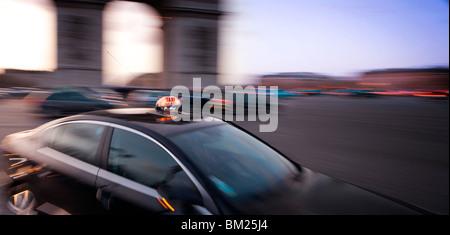 Taxi, Arc de Triomphe, Paris, France, Europe - Stock Photo