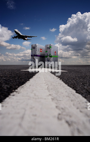 Suitcases with aircraft taking off - Stock Photo