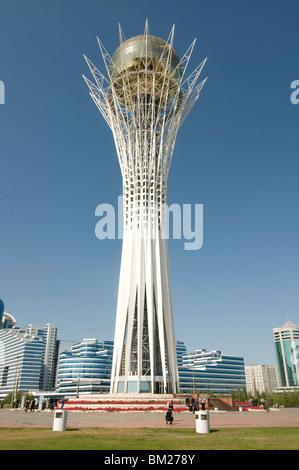 Bayterek Tower, modern landmark, Astana, Kazakhstan, Central Asia - Stock Photo