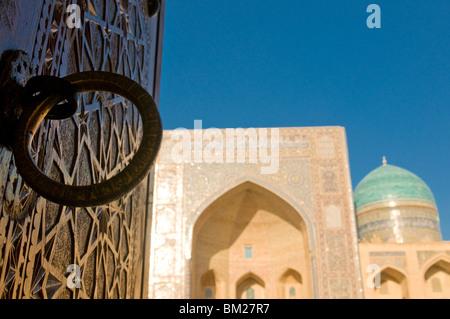 Mir-i-Arab Medressa, UNESCO World Heritage Site, Bukhara, Uzbekistan, Central Asia - Stock Photo