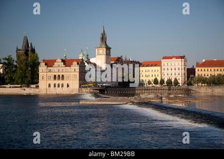 Vltava River and Smetana Museum, Prague, Czech Republic - Stock Photo