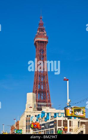 Blackpool tower and illuminations during the day, Blackpool, Lancashire, UK - Stock Photo