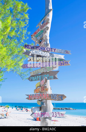 All directions sign post, Key West, Florida, USA - Stock Photo