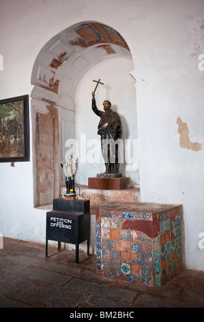 Statue of St.Francis Xavier and Interior of the Basilica of Bom Jesus, Old Goa, India - Stock Photo
