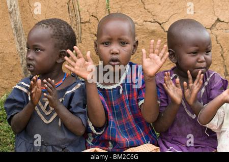 Masai children, Masai Mara, Kenya, East Africa - Stock Photo