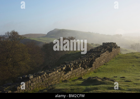 Walltown Crags looking east, Hadrians Wall, UNESCO World Heritage Site, Northumberland, UK - Stock Photo