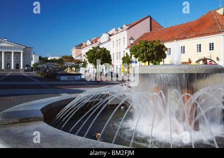 Fountain in Town Hall Square, Vilnius, Lithuania, Baltic States - Stock Photo