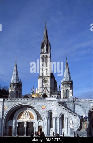 The Basilica, Lourdes, Hautes-Pyrenees, France - Stock Photo