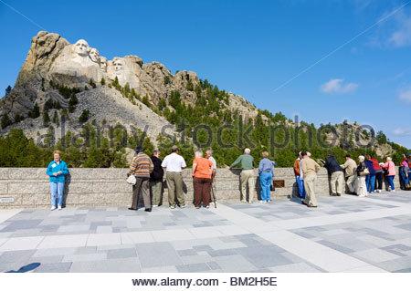 Carvings of four American Presidents at Mount Rushmore, Keystone, South Dakota, United States. - Stock Photo
