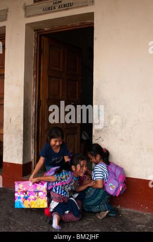 School of Santiago Atitlan, Lake Atitlan, Guatemala. - Stock Photo