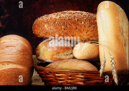 Extreme close-up image of bread with abstract background - Stock Photo