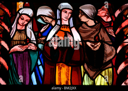 Holy virgins in the stained glass window of Saint-Joseph des Fins church, Annecy, Haute Savoie, France - Stock Photo