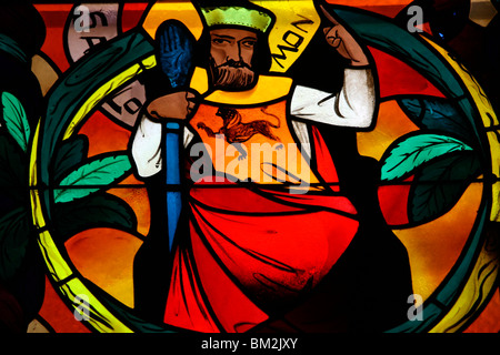 King Solomon in the stained glass window of Saint-Joseph des Fins church, Annecy, Haute Savoie, France - Stock Photo