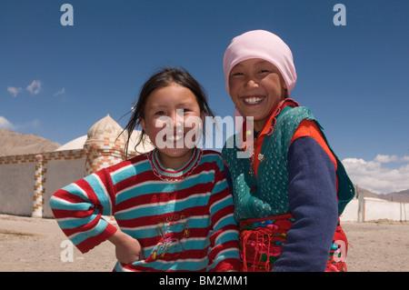 Two happy girls, Pamir Highway, Tajikistan