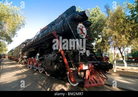 Front of an old  locomotive, Railway Museum, Tashkent, Uzbekistan - Stock Photo