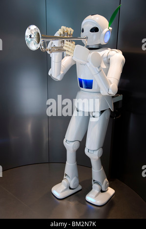 Trumpet-playing robot at the Toyota Kaikan Visitor's Center in Toyota City, Aichi, Japan - Stock Photo