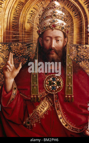 God (Ghent Altarpiece) by Jan van Eyck, (1390-1441), Belgium, Ghent, Cathedral of St. Bavo - Stock Photo