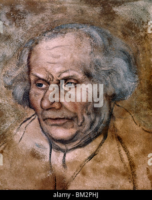 Martin Luther by Lucas Cranach the elder, Chalk and Ink, (1472-1553) - Stock Photo
