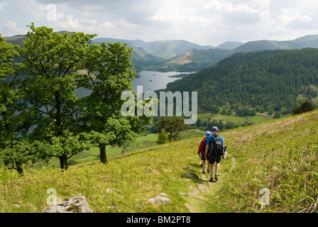 Ullswater from Gowbarrow Fell, Lake District, Cumbria, England, UK - Stock Photo