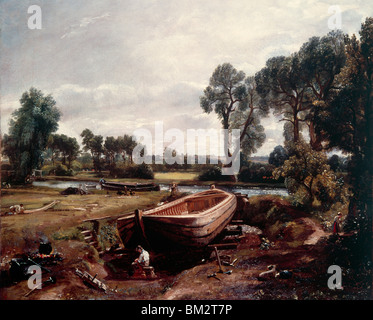 Boat Building near Flatford Mill by John Constable oil on canvas 1814 (1776-1837) UK England London Victoria & Albert - Stock Photo