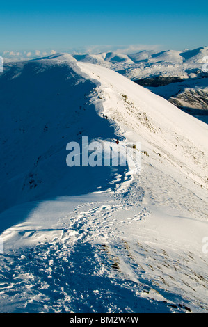 Sail from the Crag Hill ridge in winter, Grasmoor Fells, Lake District, Cumbria, England, UK - Stock Photo