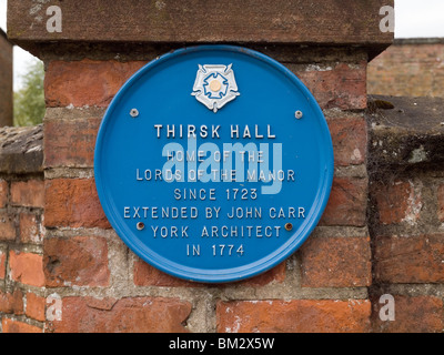 Blue Plaque on Thirsk Hall North Yorkshire home of the Lords of the Manor since 1723 - Stock Photo