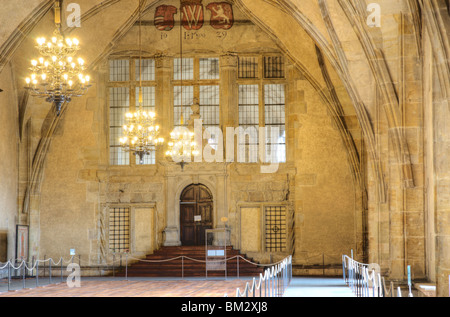 Old Royal Palace with Vladislav Hall, Prague castle, Prague - interior - Stock Photo