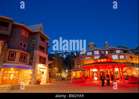 Town Plaza in Whistler Village at Dusk - Stock Photo