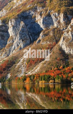 Evening light on the Julian Alps surrounding Lake Bohinj near Ribcev Laz, Gorenjska, Slovenia - Stock Photo