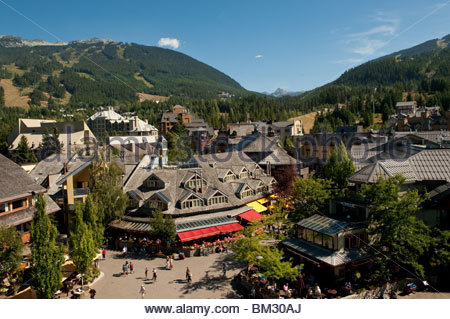 Whistler Village seen from the village square - Stock Photo