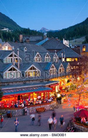 Whistler Village at Dusk - Stock Photo