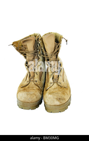 Front view of a tan 'olive mojave' pair of  USMC military boots with dog tag attached. - Stock Photo